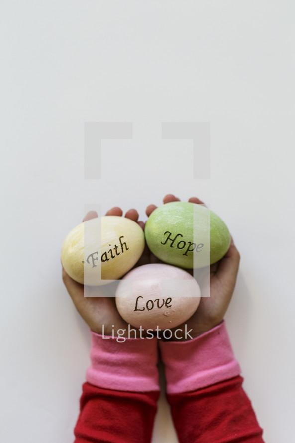 faith, hope, and love on Easter eggs