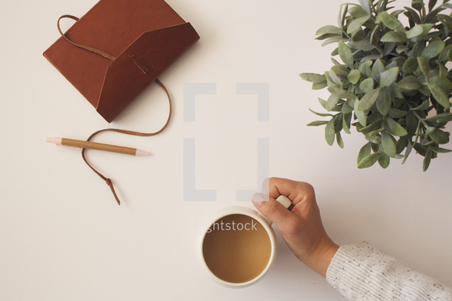 leather-bound notebook, pen, houseplant, and arm reaching for a coffee cup