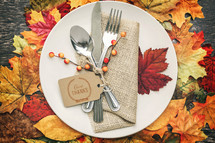 fall place setting for a dinner party