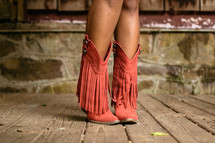 pink fringed boots