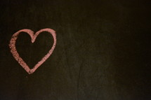 pink heart in chalk