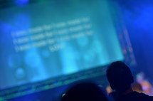 A widescreen at a contemporary worship service