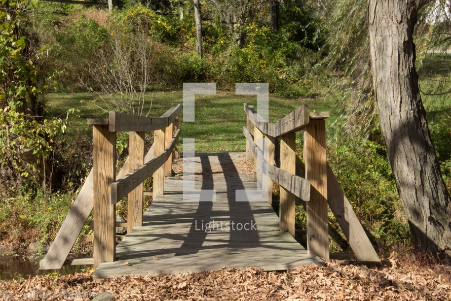 Wooden bridge surrounded by trees and autumn leaves on the ground.