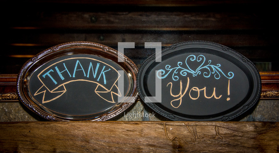 """Thank you"" plaques."