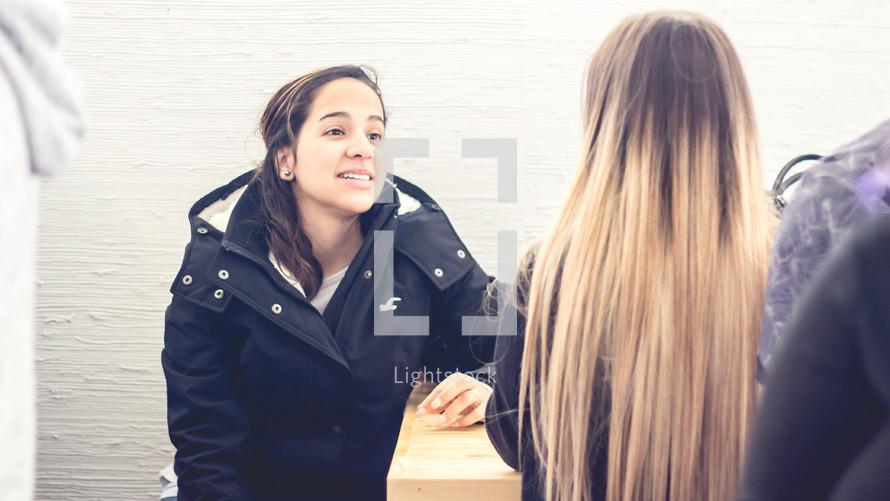 teen girls talking