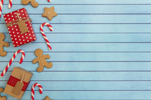 A Christmas Background with Gingerbread and Candy Canes