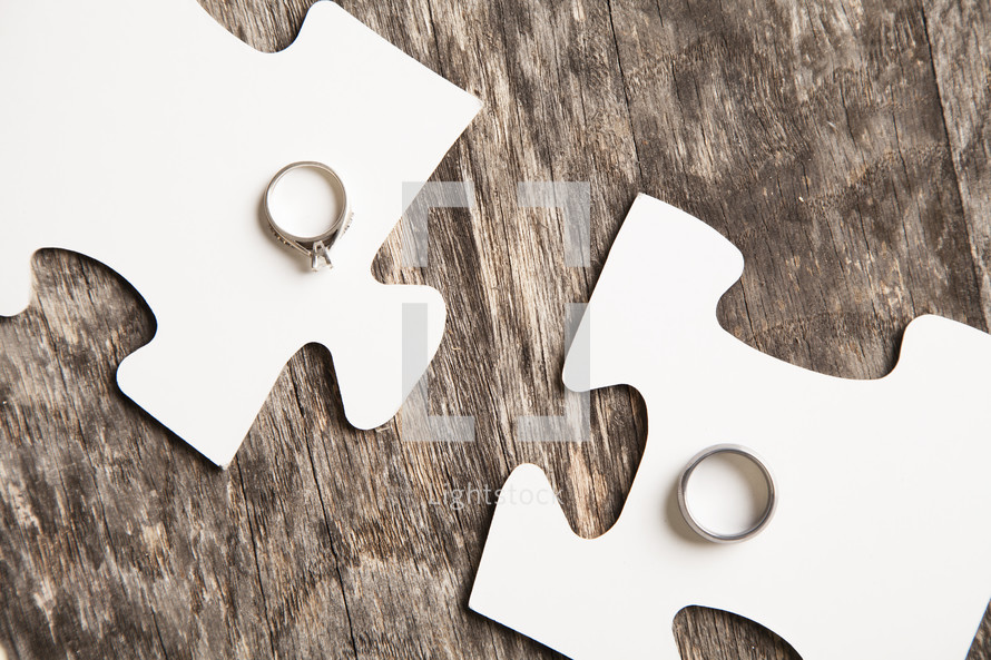 connecting the puzzle pieces and wedding bands