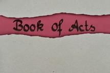 Book of Acts - torn open kraft paper over dark red paper with the name of the book: Acts of the Apostles