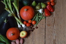 Celebrate the Festival of Harvest. harvest, thanksgiving, thanks, fruits, fruit, first, firstfruit, crops, field, festival, exodus, vegetable, vegetables, autumn, fall, greenstuff, crop, yield, harvesting, rich, bountiful, plentiful, plenty, bounteous, gather, reap, bring in, produce, abundant, abundance, present, thanks giving, harvest festival, november, pumpkin, zucchini, courgette, potato, garlic, tomato, cucumber, apple, chestnut, bell pepper, pear, pepper, sweet pepper, leek, allium, eggplant, bean, garden, gardening, floor, desk, table, wood, wooden, food, eat, eating, groceries, grocery, nourishments, nourishment, biomaterials, biomaterial, biological, organic, biologic, biologically, red, green, orange, pumpkins, zucchinis, courgettes, potatoes, tomatoes, cucumbers, apples, chestnuts bell peppers, pears, peppers, sweet peppers, leeks, alliums, eggplants, beans