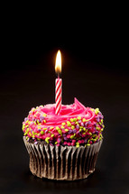 birthday candle in a chocolate cupcake with pink icing and sprinkles