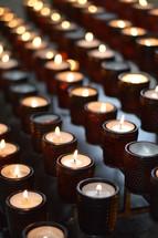 prayer candles in a Catholic church