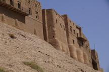 Ancient city walls around a desert city