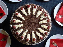 Chocolate cake ready to be eaten.