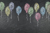 birthday balloons - chalk balloons on slate with blank space for words or numbers