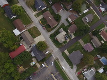 aerial view over a neighborhood