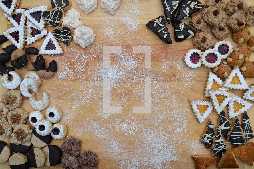 cookies on a wood background