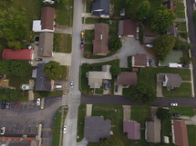 aerial view over homes in a neighborhood