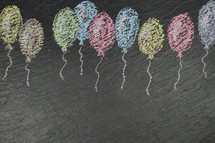 balloons in chalk on slate