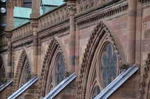details of a cathedral. cathedral, old, Gothic, Gothic age, Gothic style, Gothic period, gothically, Europe, sandstone, freestone, brownstone, ogive, pointed arch, tower, exterior, church, roof, steeple, spire, high, copper roof, copper, flying buttresses, tall, slim, slender, gargoyle, , waterspout, spout