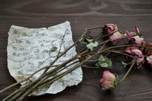 love letter and dried roses