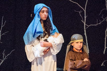 children in a Christmas pageant, Mary, Joseph, baby Jesus, Nativity scene