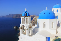 Greek church over looking the ocean