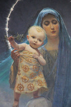 Mary and baby Jesus as depicted on a painting in the Chapel inside Achillion palace in Corfu, Greece