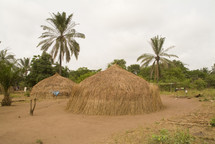 African grass huts in rural setting