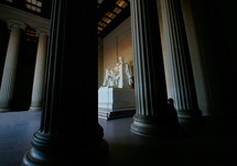 The statue of Abraham Lincoln inside the Lincoln Memorial