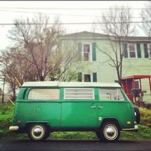 Old green Volkswagen van