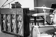 piano and drum set
