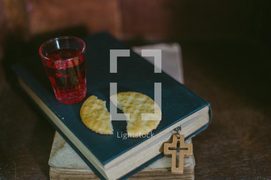 Communion elements on a Bible