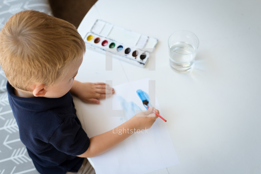 boy with watercolors
