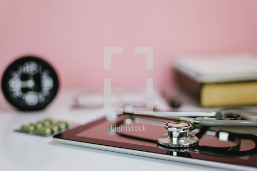stethoscope on a tablet