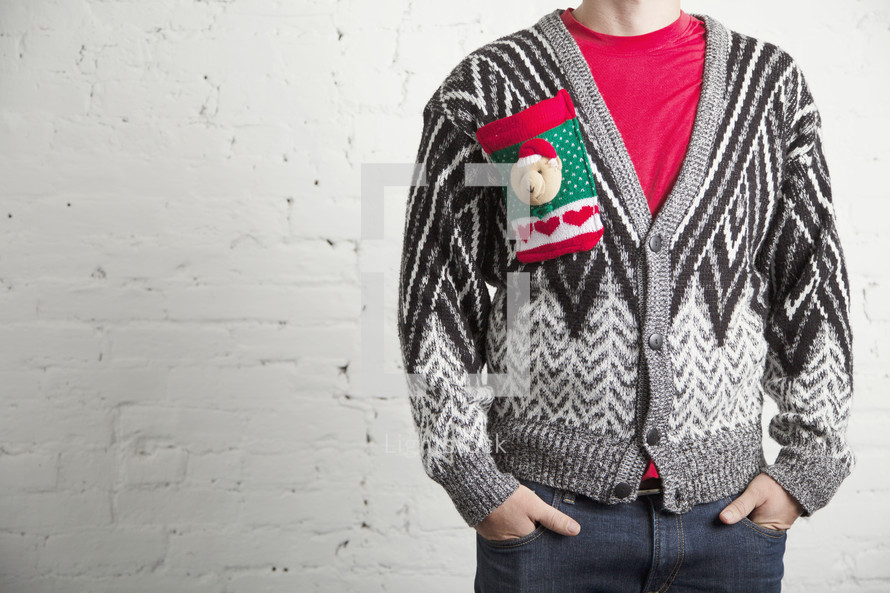 man in a Christmas sweater