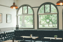 windows in a cafe