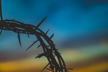 silhouette of a crown of thorns at sunset