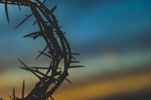 silhouette of a crown of thorns against a sky at sunset