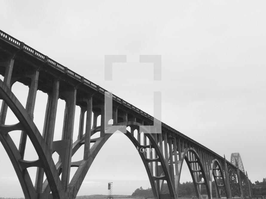 A steel, arched bridge.