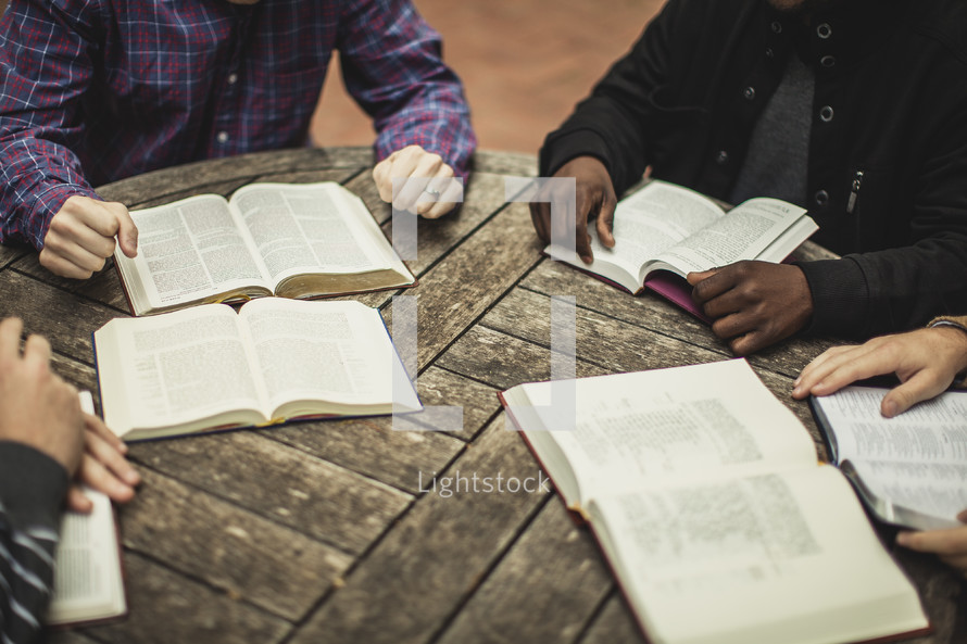 Open Bibles during a Bible study