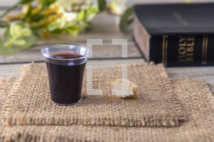 communion elements and Bible