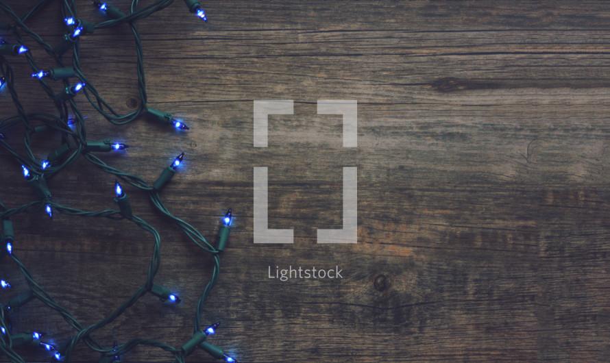 blue Christmas light strand