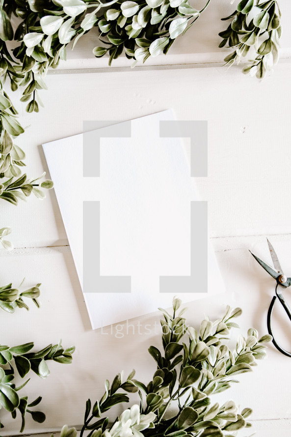 white paper and scissors with boxwood border