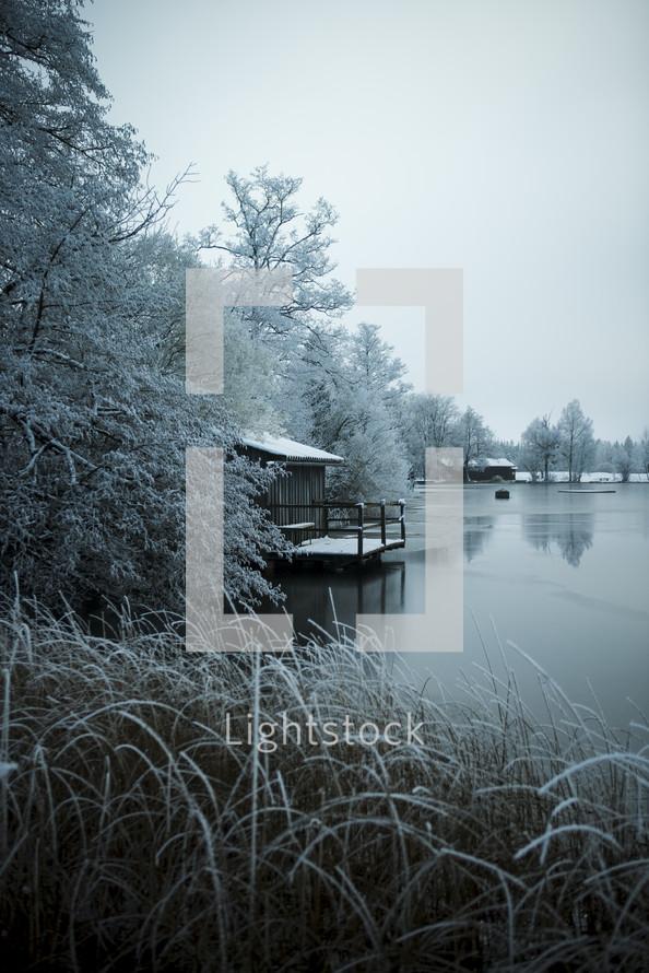 frozen lake shore