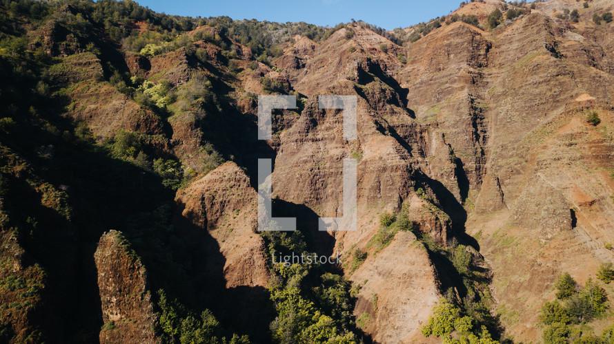 rugged cliffs on a mountainous island landscape