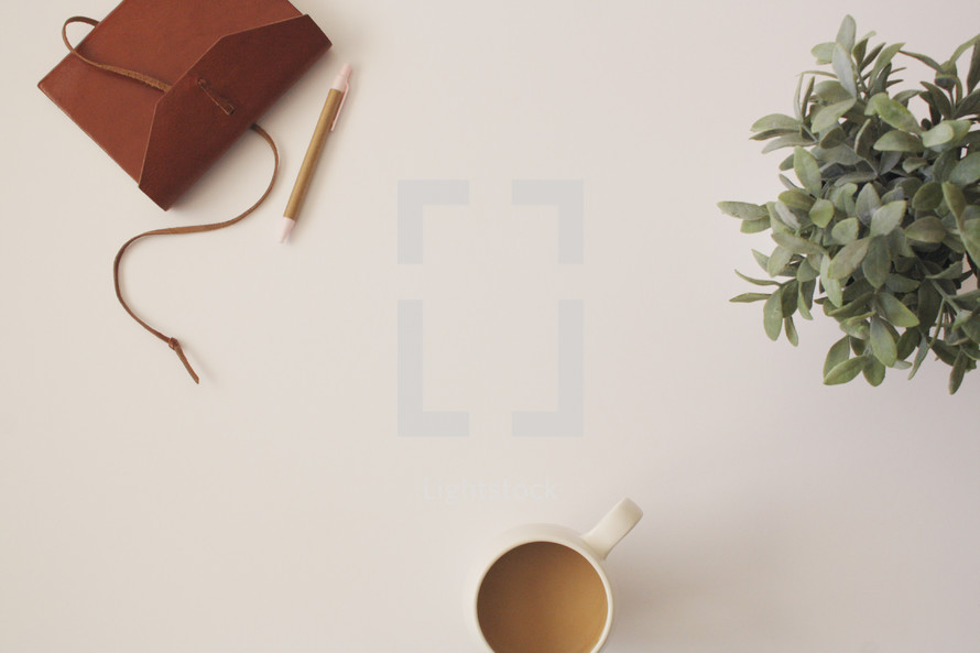 journal, pencil, coffee mug, and house plant on a white background