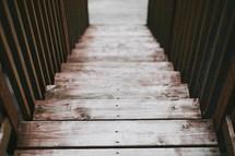 looking down a flight of wood steps