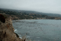 cove and cliffs along a shoreline