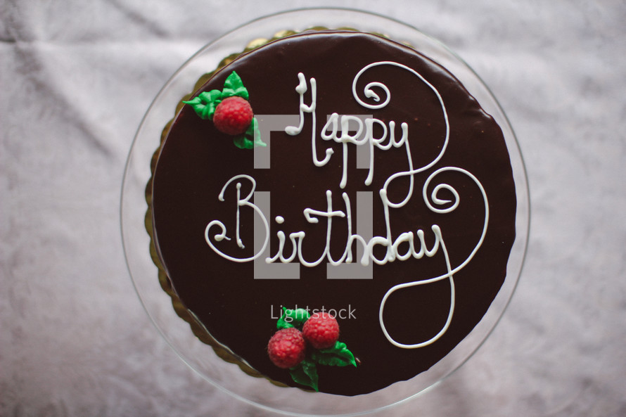 "Chocolate ""Happy Birthday"" cake."