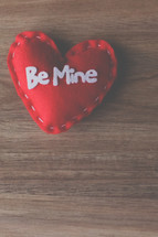 red felt heart with Be mine